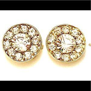 Gold rhinestone stud earrings